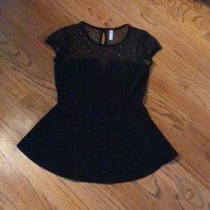 Xhilaration Black Mesh Top With Bell Bottom Size M